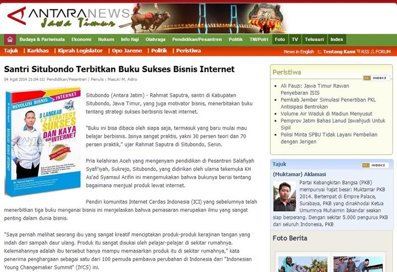 Rahmat Saputra Terbitkan Buku Technopreneur Antara News
