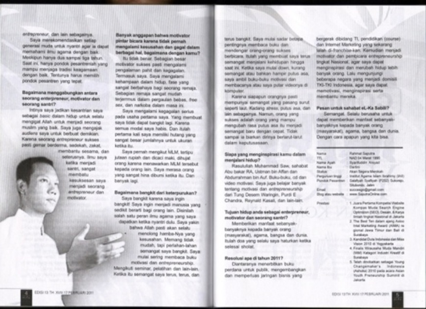 Rahmat Saputra di Majalah Sabili 5 Halaman Penuh